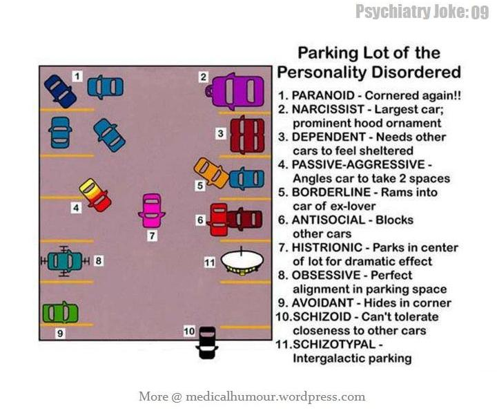 Parking Lot Of The Personality Disordered Medical Humour
